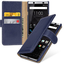TETDED Premium Leather Book Case for BlackBerry KEYone Gerzat (LC: Navy Blue)