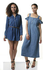 WOMENS Ruffle Shirt Short Mini Dress Pinafore Long Sleeve Jeans Top 8 10 12 14