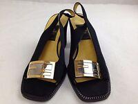 Auth FENDI LOGO Black Womens Sandals Size 37 5G140460#*
