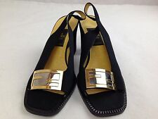 Auth FENDI LOGO Black Womens Sandals Size 37 5G140460#