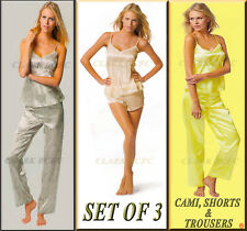 Ladies Women 3 Piece Satin Set Her Valentine Pyjama Shorts PJ'S Nightwear Nighty