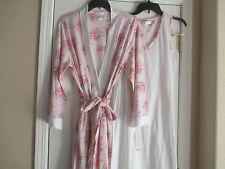 NWT CAROLE HOCHMAN PINK FLOWERS STRIPES DOT NIGHTGOWN ROBE SET MEDIUM RETAIL $78