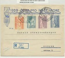 Yougoslavie 1939 bleu marine & MARCHAND Musée Housse,lettre recommandée Ti