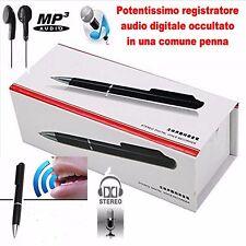 REGISTRATORE VOCALE DIGITALE AUDIO MP3 in PENNA SPY 8GB AUTONOMIA FINO A 6 ORE