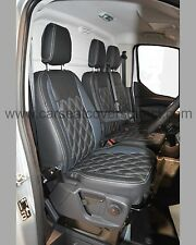 Ford Transit Custom Van Tailored Seat Covers - Charcoal & Grey with Diamonds