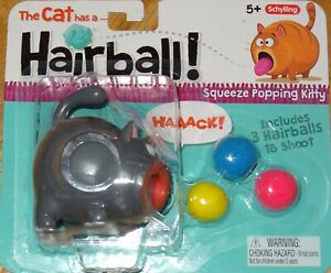 The Cat has a Hairball! Squeeze Toy Popping Kitty Black Grey or Orange HRB