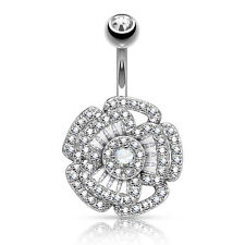 Steel Belly Button Navel Rings 14g Princess Cut Cz Camellia Dangle 316L Surgical