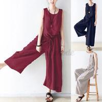 Mode Femme Combinaison Loisir Casual Bande élastique Pantalon Long Jambe Large