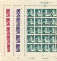 Stamp Germany Poland General Gov't Mi 101-3 Sheet 1943 WWII 3rd Reich Hitler MNH