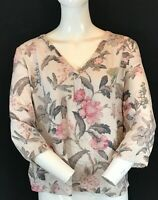 """LAURA ASHLEY Women Soft Rayon 3/4 Sleeve Floral Print Blouse Top UK18 Chest 48"""""""