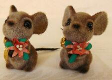 Josef Originals 2 Mice Holding Poinsettias Flocked Fuzzy Fur Japan