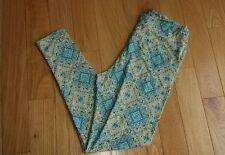 LULAROE ~ Tall & Curvy LEGGINGS ~ TC ~ Mosaic Tiles ~ Yellow Blue Spring UNICORN