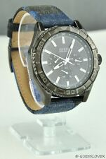 Free Ship USA Chic Unisex Men Watch GUESS Blue Leather Canvas New U0491G2 Lovely