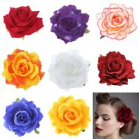 2in1 Romantic Silk Rose Flower Hairpin Hair Clip Prom Corsage Brooch Party Favor