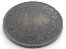 1904 Canada One 1 Cent Large Copper Penny Circulated Edward VII Coin K025