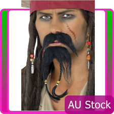 Pirate Beard Moustache Facial Hair Set Caribbean Jack Sparrow Costume Accessory