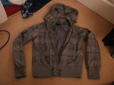 Girls H&M grey check shower proof jacket coat with detachable hood age 11-12