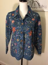Units Women's Denim Jacket Shirt Floral Embroidery SizeSmall