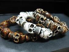 3PCS Man's Cool Skull Beads Gothic Biker Bracelet