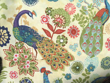 Burgundy Green blue Peacock flower leaves on Beige color curtain valance