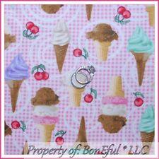 BonEful Fabric FQ Cotton Flannel Pink Gingham Swirl Ice Cream Cone Cherry Girl S