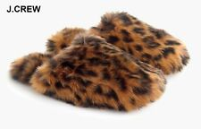 New J.CREW leopard slippers brown black furry fuzzy animal print hair faux fur L