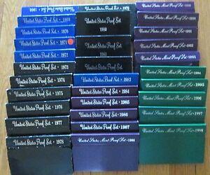 1968 to 1998  Proof Sets U.S. Mint 31 Proof set San Francisco Mint Box & COA
