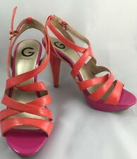 G by Guess Habanero Strappy Heels Coral Pink Vegan Pumps Party Fun Size 8.5M