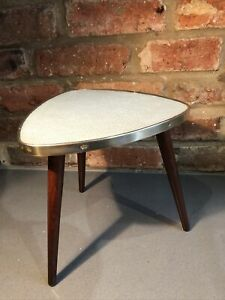 Vintage Mid Century Small Teak Side Table Plant Stand Dansette Style Legs Mcm