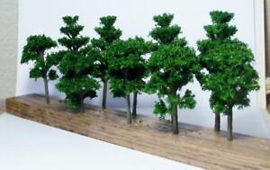 "New Multi Scale Model Tree Scenery 10 Pcs Green Deciduous Trees 3 9/16"" & 2 3/4"""