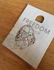 Topshop Freedom Antique Silver Filigree Cut Out Ring Size S Jewellery
