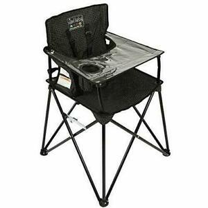 ciao! baby Portable High Chair for Travel, Fold Up High Chair with Tray, Black
