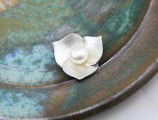 Blüten Anhänger 925 Silber Perle rund weiß Blume Blätter floral Blüte Zertifikat