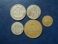 RUSSIA USSR UdSSR Russland 20 & 15 & 10 & 5 & 1 KOPEK kopeck kopecks 1952