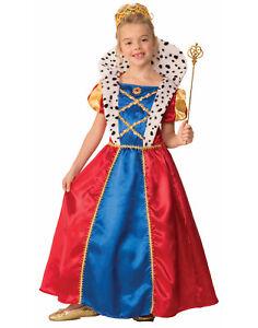 Girls Royal Queen Renaissance Medieval Fairy Tell Queen Costume-L