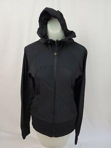 LULULEMON Black Reversible IN FLUX Stretch Hoodie Hooded Jacket Women's Sz 8 EUC
