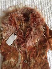 NEW 100% SHEEPSKIN SHEARLING GENUINE LEATHER LONG COAT ORANGE BEIGE SIZE M
