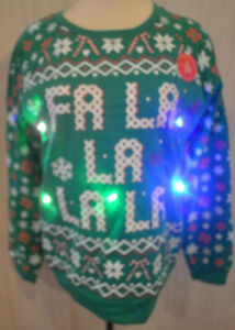 Women's Freeze Fa La La La La Green Snowflake Light Up LS Christmas Sweater