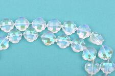 10 CLEAR AB QUATREFOIL crystal beads rainbow plated, fct, 20mm bgl1356