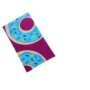 Women's Kid's Donut Print Beach Towel Fuchsia Pink Swimming Cotton Large New NWT