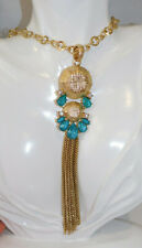 """Style&Co. Long Gold Chain Tassel Turquoise Blue Rhinestone 30"""" Necklace 8a 74"""