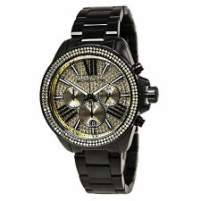 New Michael Kors Wren Black Gold Chronograph Womens Glitz Stainless Watch MK5961