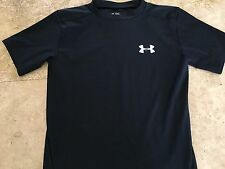 Under Armour Ladies Workout Shirt Top medium Heat Gear Black SS Fitted