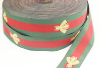 5 yard 35 mm Gucci colors, Green Red Striped Ribbon, Bee Trim, sewing, Weaving