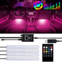 Car Interior Decor Light RGB 48LEDs Atmosphere Lamp Music Footwell Strip Light