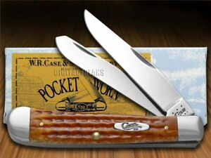 Case xx Trapper Knife Pocket Worn Harvest Orange Bone Pocket 07401