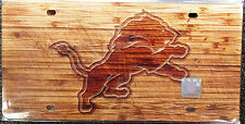 Detroit Lions Woodgrain Design Deluxe Laser Cut Acrylic Inlaid License Plate Tag