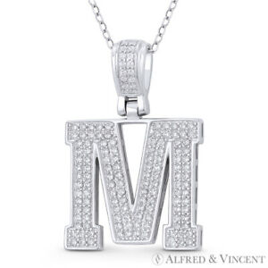 "Initial Letter ""M"" Block Script CZ Crystal 925 Sterling Silver & Rhodium Pendant"