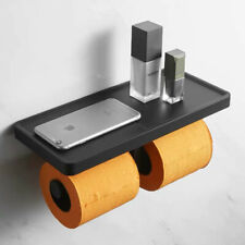 Black Double Toilet Paper Holder with Shelf Plastic ABS Storage Bathroom Shelf