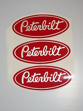 3 Peterbilt Red & white vinyl Grill Hood Decals Semi custom stickers